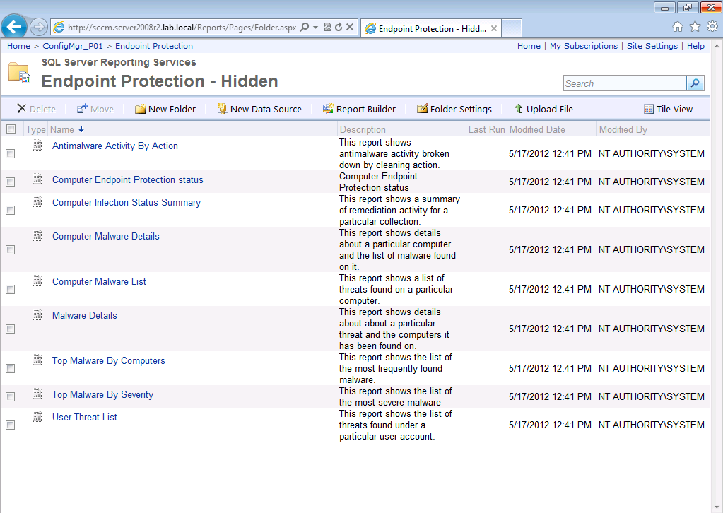 How can I view hidden EndPoint Protection reports in System Center