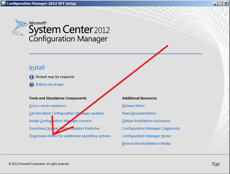 Where can I download additional clients for System Center 2012