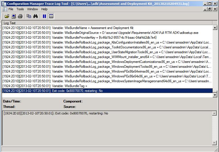 Adk error message