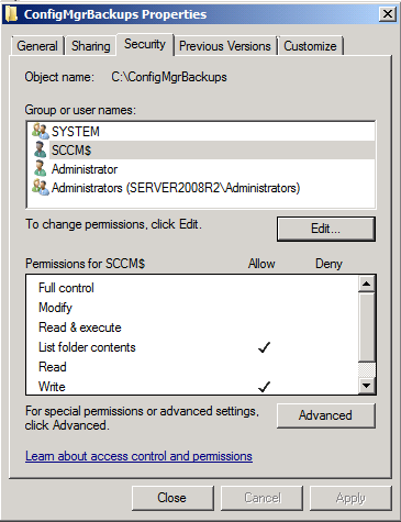 ConfigMgr site server permissions for backup on another server