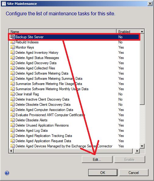 enable backup site server task