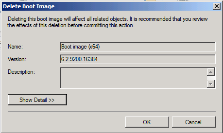 Delete boot image - Show detail