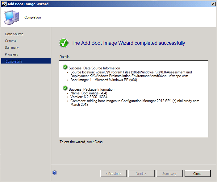 boot image wizard successfully completed