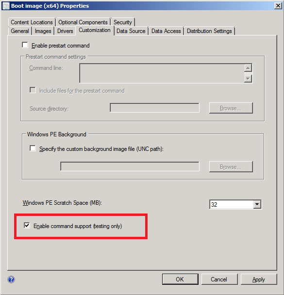 enable command support