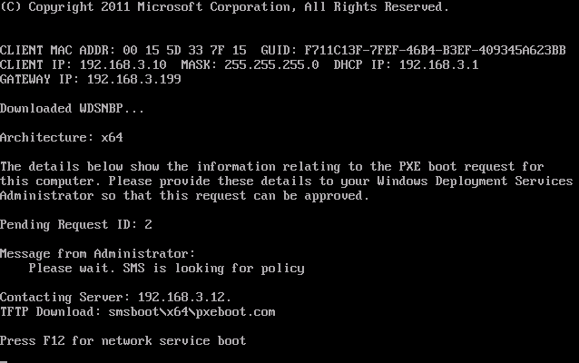 successful PXE boot screen