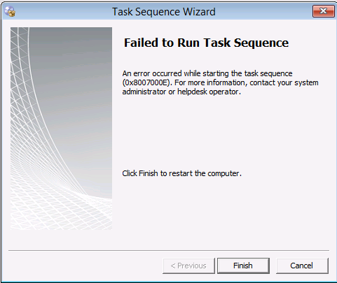 failed to run task sequence