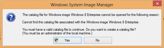 Answer yes to the catalog file creation prompt