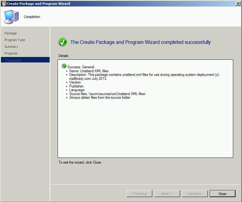 Create-Package-completed-successfully.pn