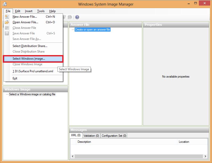 Select Windows Image