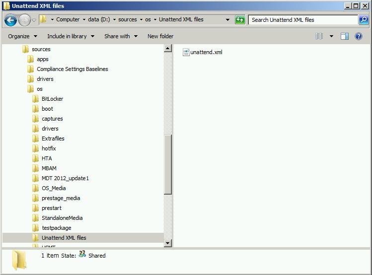 copy unattend xml file to the server
