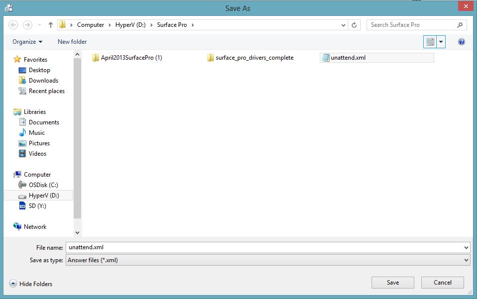 save file as unattend dot xml