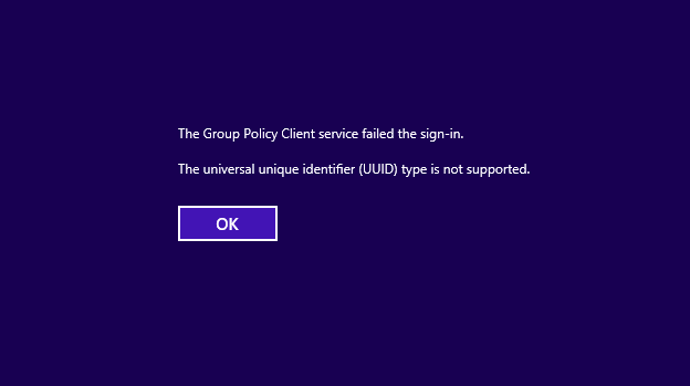 The Group Policy client service failed the sign in