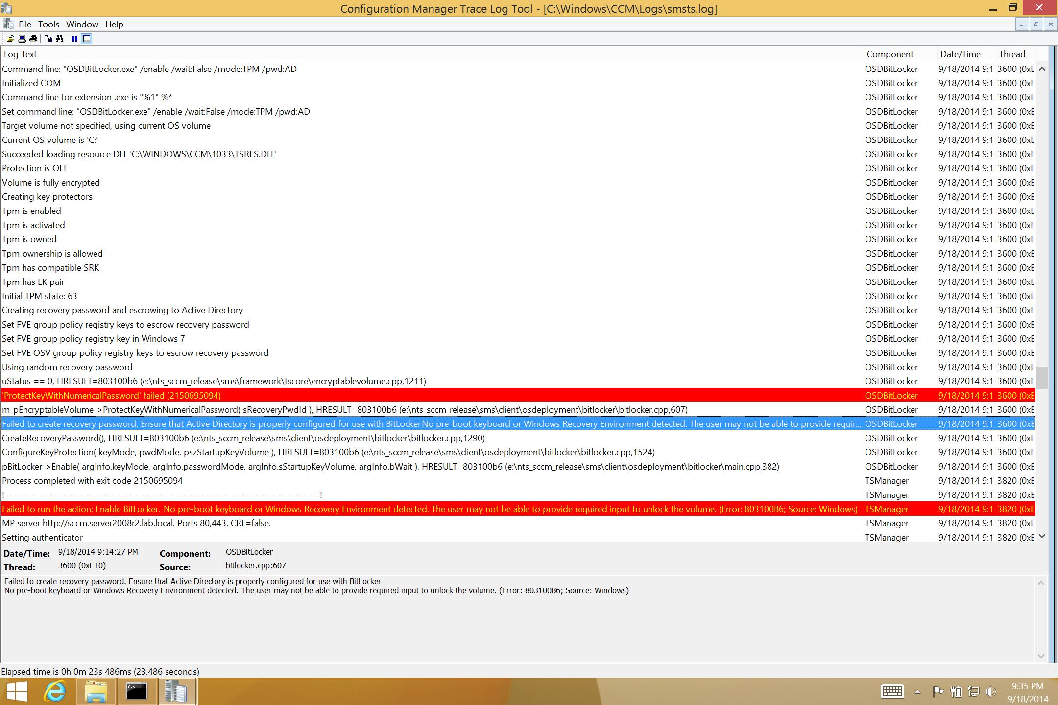 surface pro 3 enable bitlocker failure