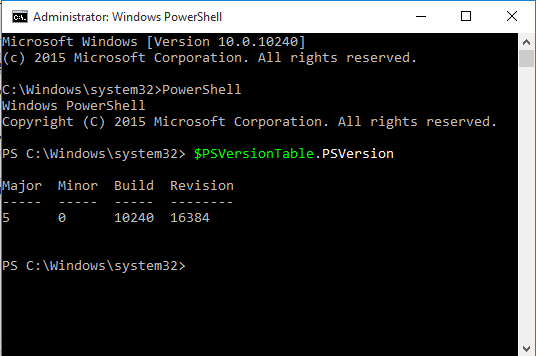 PowerShell version