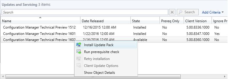 Install Update Pack