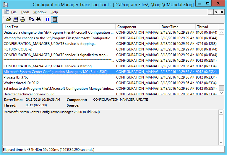 cmupdate log file