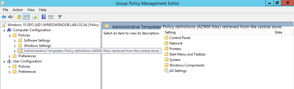 How can I add new Windows 10 admx files to the Group Policy Central