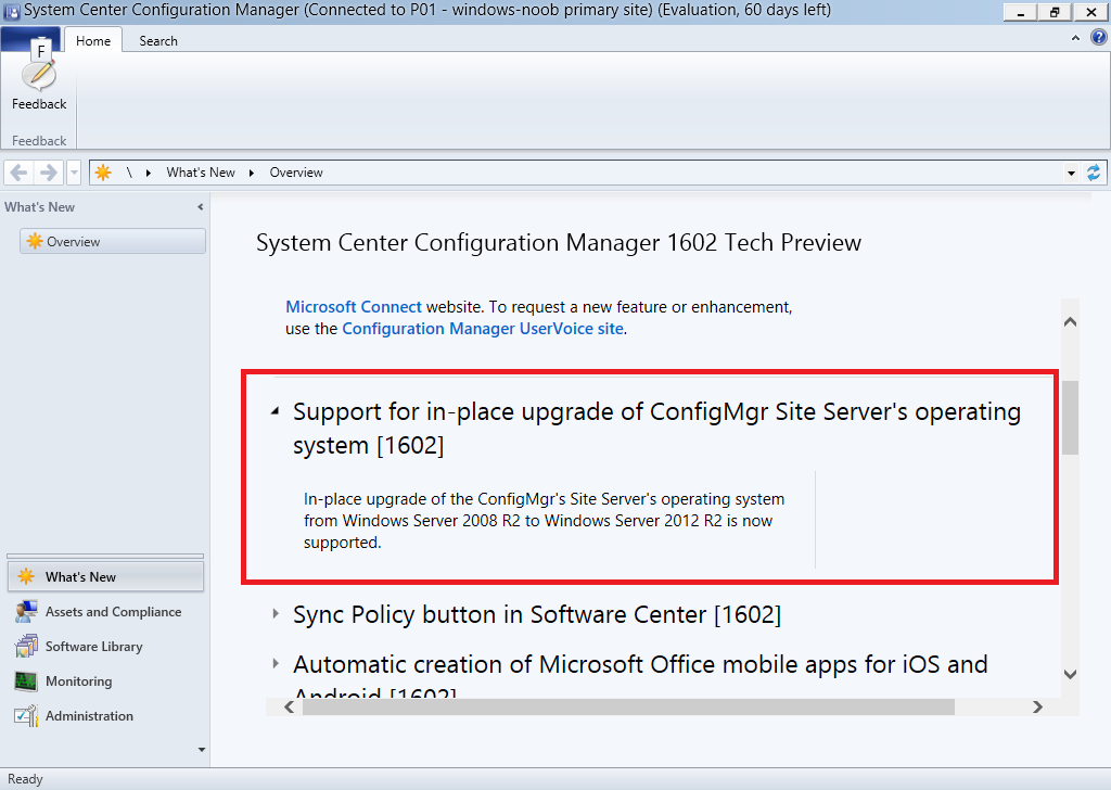 System Center Configuration Manager Technical Preview 1602