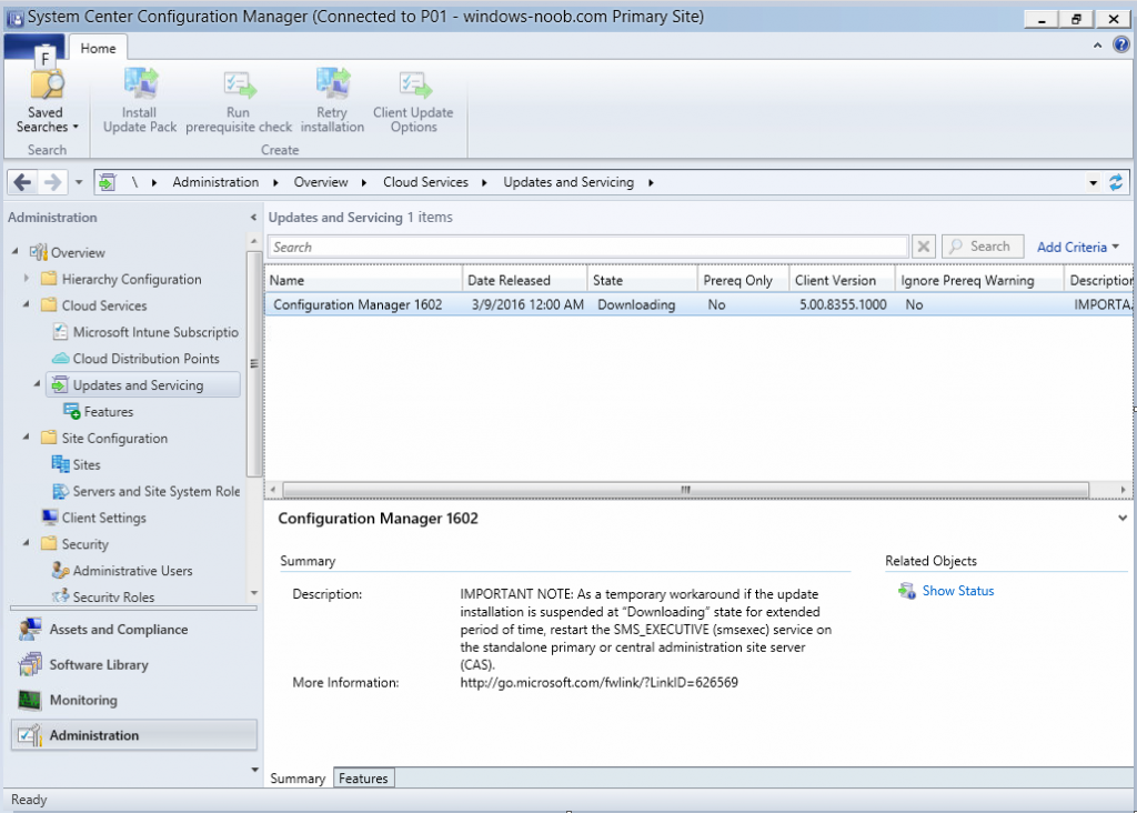 Upgrading to 1602 for System Center Configuration Manager
