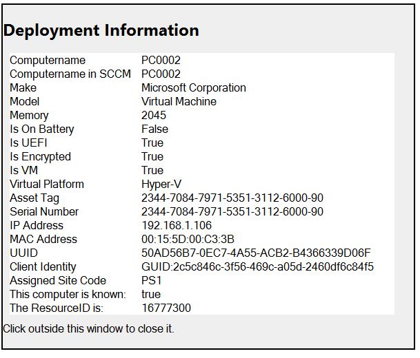 deployment info
