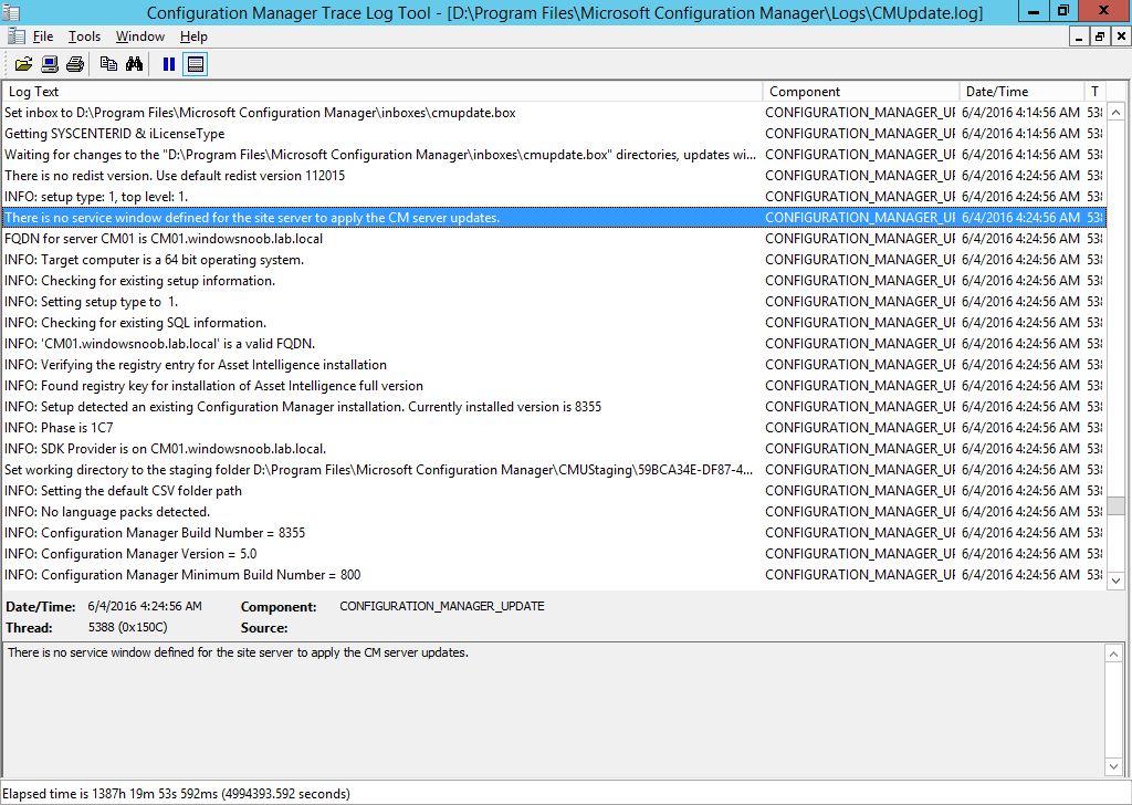 cmupdate log file