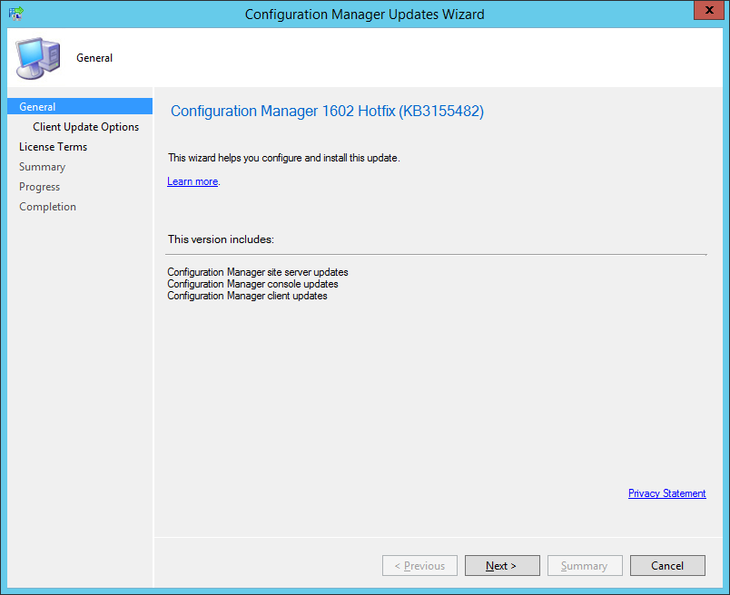 configuration manager updates wizard