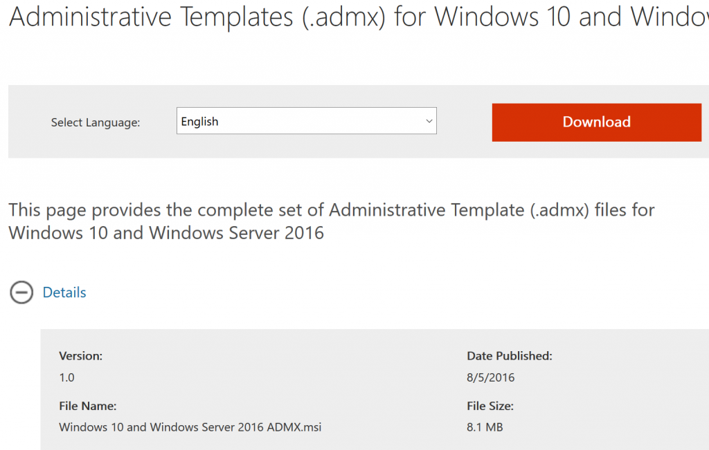 Administrative Templates ( admx) for Windows 10 version 1607