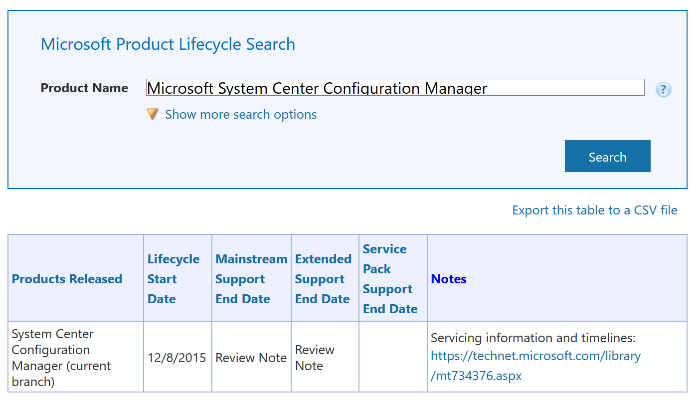 Support for System Center Configuration Manager current branch