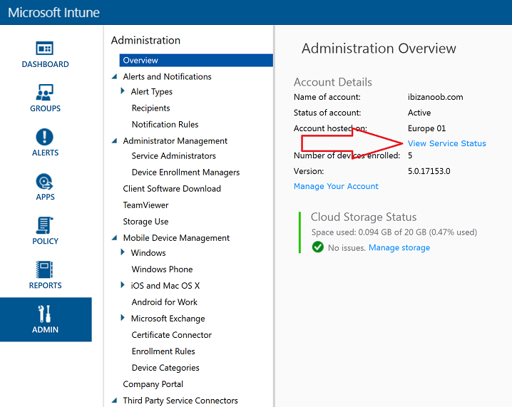 How can I check the status of my Intune service ? | just another