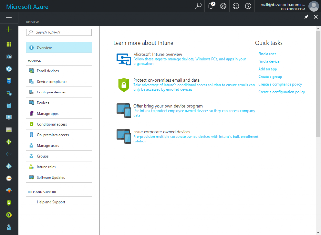 Intune preview in azure get s a new look and software for New windows software