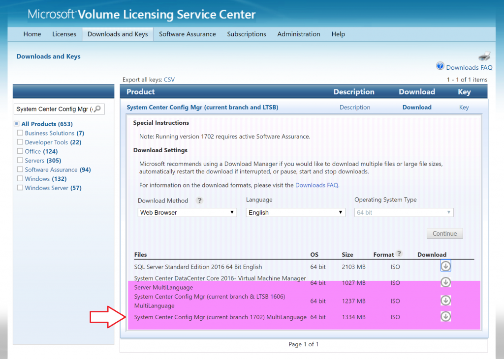 What are Baseline versions in System Center Configuration