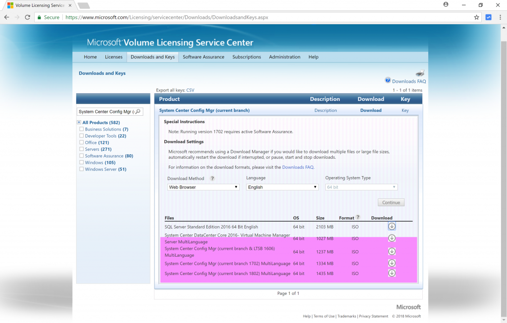 System Center Configuration Manager (Current Branch) version 1802 is