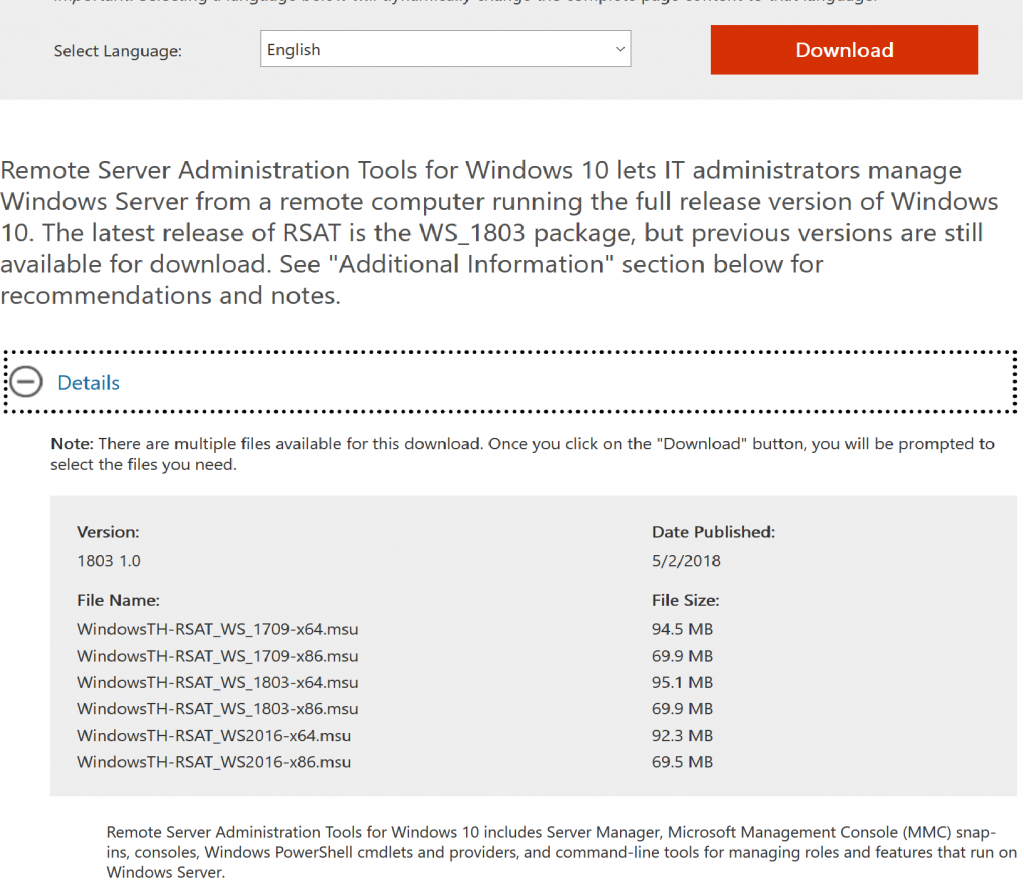 Remote Server Administration Tools for Windows 10 is
