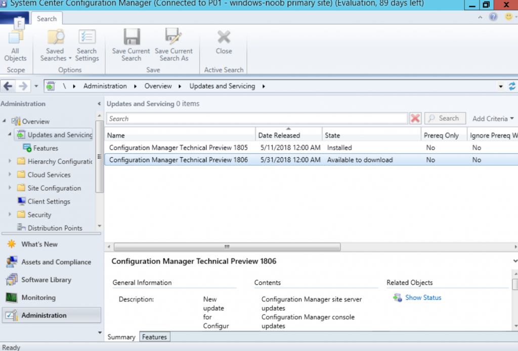 System Center Configuration Manager Technical Preview 1806
