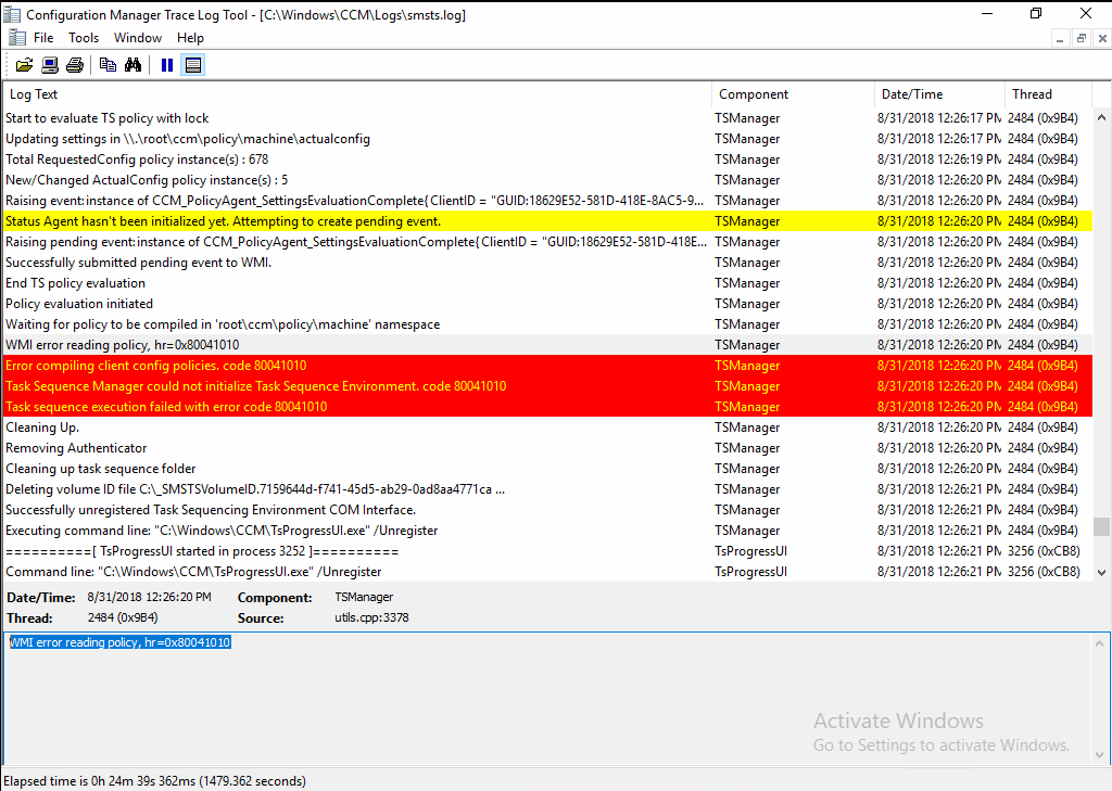 WMI errors in SMSTS LOG after Restart Computer step in an in