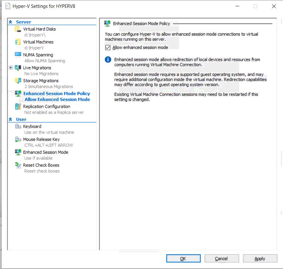 Hyper-V Enhanced session greyed out on Windows Server 2019