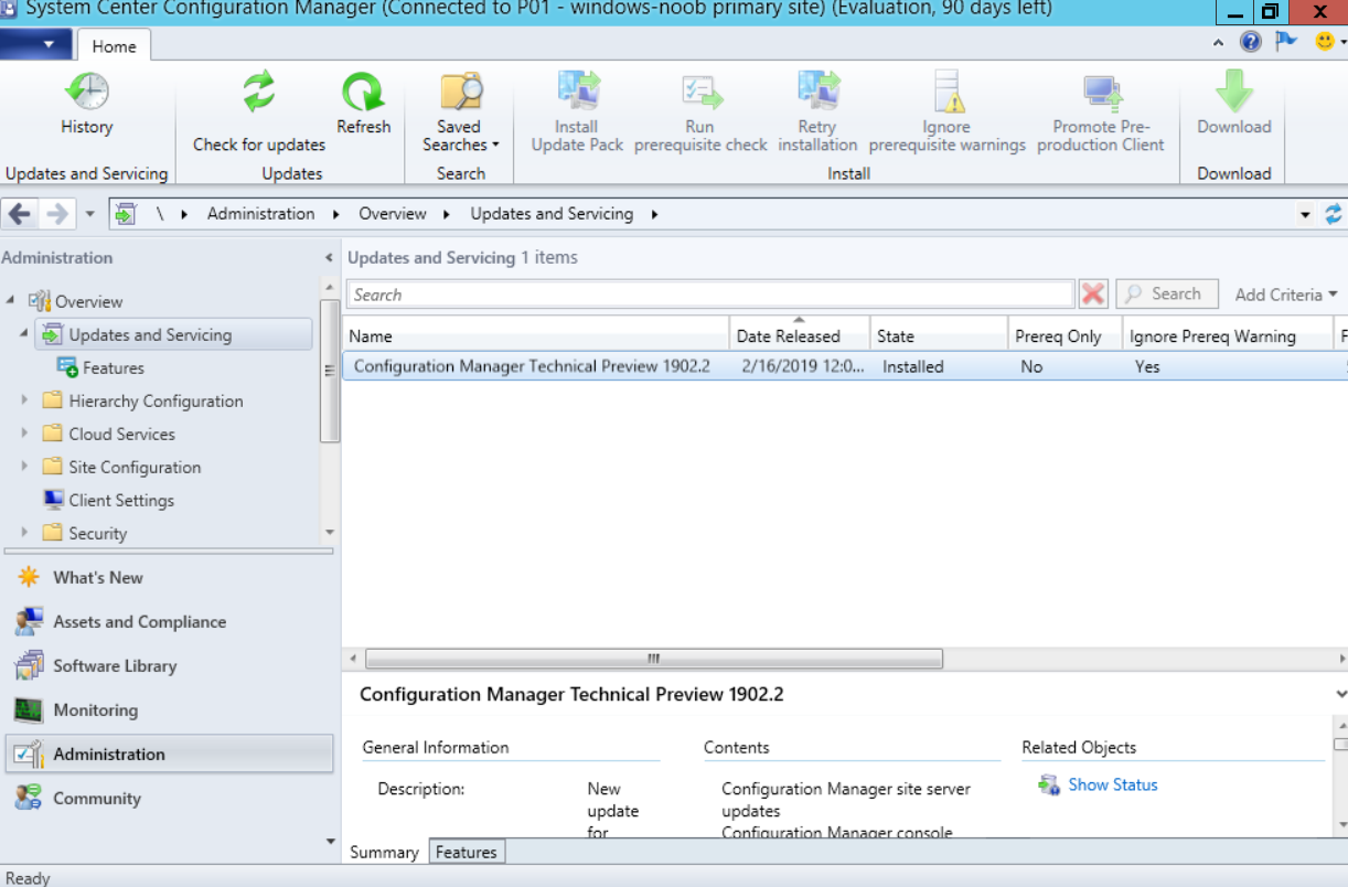 System Center Configuration Manager 1903 Technical Preview is out