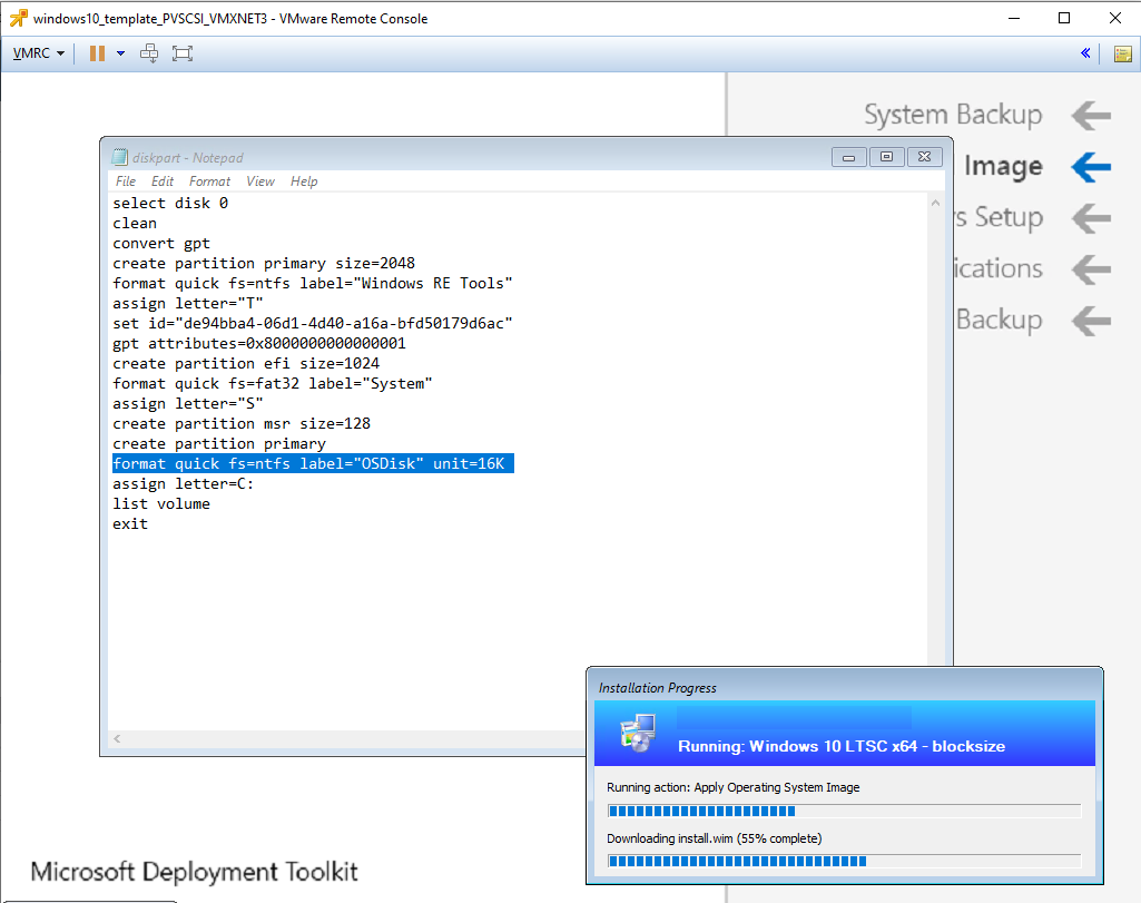 How can I deploy Windows with a custom blocksize using SCCM
